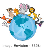 #33561 Clip Art Graphic Of A Happy Group Of Animals A Bunny Fox Dog Cat Elephant Mouse Lion Lamb And Skunk With A Butterfly Being Peaceful And Standing On The Globe