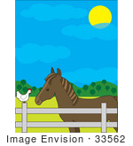 #33562 Clip Art Graphic Of A Cute White Hen Sitting On A Fence And Passing Barnyard Gossip To A Horse