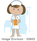 #33603 Clip Art Graphic Of A Pretty Brunette Nurse Lady In A Hospital Room Holding A Patient'S Charts On A Clipboard