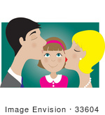 #33604 Clip Art Graphic Of A Pleased Little Girl Getting Kissed On Both Cheeks By Her Daddy And Mommy