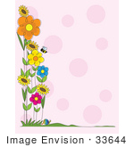 #33644 Clip Art Graphic Of A Stationery Border Of Bees And Spring Flowers Over A Pink Background With Polka Dots
