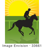 #33661 Clip Art Graphic Of A Silhouetted Jockey Riding On Horseback At Sunrise