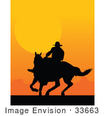 #33663 Clip Art Graphic Of A Silhouetted Cowboy Riding A Horse At Sunset