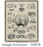 #33978 Stock Illustration Of The Chart Of Odd Fellowship Showing Scenes Around A Portrait Of Thomas Wildey, Founder Of The First Lodge Of American Odd Fellowship At Baltimore, April 26 1819 by JVPD