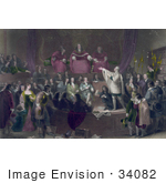 #34082 Stock Illustration Of A Scene Of The Trial Of Colonel Algernon Sidney In 1683