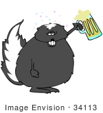 #34113 Clip Art Graphic Of Drunk As A Skunk A Fat Skunk Drinking Beer From A Mug And Holding The Class Up