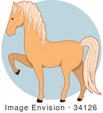 #34126 Clip Art Graphic Of A Blond Palomino Horse Prancing