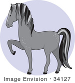 #34127 Clip Art Graphic Of A Gray Dapple Horse Prancing