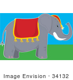 #34132 Clip Art Graphic Of A Circus Elephant With A Red Cloth Draped Over Its Back