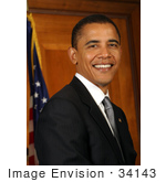 #34143 Stock Photo Of Barack Obama Junior United States Senator From Illinois And 2008 Presidential Nominee Of The Democratic Party Smiling And Posing In Front Of An American Flag