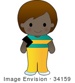 #34159 Clip Art Graphic Of A Bahamian Girl Dressed In Cultural Bahamas Flag Clothes