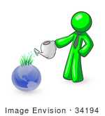 #34194 Clip Art Graphic Of A Green Guy Character In A Business Tie Watering A Garden Of Sprouting Grasses On Top Of A Blue Globe