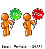 #34234 Clip Art Graphic Of Conflicting Orange Guy Characters Holding Red Stop And Green Go Signs