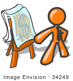 #34249 Clip Art Graphic Of An Orange Guy Character Wearing A Business Tie Standing In Front Of A Presentation Board With A Dollar Sign Puzzle During A Meeting
