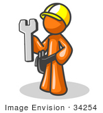 #34254 Clip Art Graphic Of An Orange Guy Character Construction Worker Holding A Wrench And Wearing A Hardhat And Toolbelt