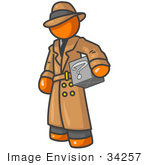 #34257 Clip Art Graphic Of An Orange Guy Character In A Trench Coat Carrying A Discovery Box