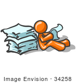 #34258 Clip Art Graphic Of An Orange Guy Character Sitting On The Floor And Going Through A Large Stack Of Papers At Work