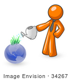 #34267 Clip Art Graphic Of An Orange Guy Character Using A Watering Can To Feed Sprouting Grass On Top Of A Blue Globe