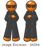 #34344 Clip Art Graphic Of Two Orange Guy Characters In Black Suits And Shades Standing Still With Their Arms Crossed