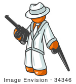 #34346 Clip Art Graphic Of An Orange Mafia Guy Character In White Leaning On A Cane And Holding A Gun