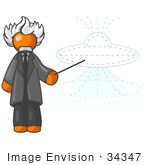 #34347 Clip Art Graphic Of An Orange Guy Albert Einstein Character Pointing To A Drawing Of A Ufo