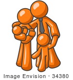 #34380 Clip Art Graphic Of An Orange Character Family With Two Children Standing Together