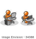 #34388 Clip Art Graphic Of Orange Guy Characters Working At Different Tables One With A Laptop One With A Desktop Computer