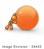 #34443 Clip Art Graphic Of An Orange Guy Character Struggling To Push A Large Ball