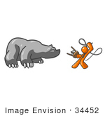 #34452 Clip Art Graphic Of An Orange Guy Character Fighting Off A Bear With A Stool And Whip