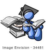 #34481 Clip Art Graphic Of A Blue Guy Character In A Graduation Cap Reading A Book