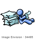 #34495 Clip Art Graphic Of A Blue Guy Character Reading A Stack Of Papers