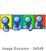 #34548 Clip Art Graphic Of A Blue Guy Character In A Business Tie Shown In Four Different Poses