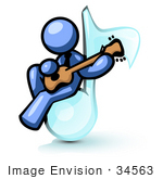 #34563 Clip Art Graphic Of A Blue Guy Character Playing A Guitar On A Music Note