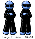 #34591 Clip Art Graphic Of Blue Guy Characters In Suits And Sunglasses