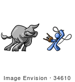 #34610 Clip Art Graphic Of A Blue Guy Character Figint A Bull With A Stool And Whip