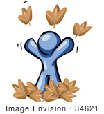 #34621 Clip Art Graphic Of A Blue Guy Character Playing In Fall Leaves Throwing Them Up In The Air On A Happy Carefree Autumn Day