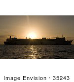 #35243 Stock Photo Of The Naval Hospital Ship Usns Mercy (T-Ah 19) Anchored At Sunset Off The Coast Of Dili Timor Leste