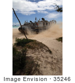 #35246 Stock Photo Of A Landing Craft Air Cushion From Beach Master Unit One Driving Onto The Beach At Bellows Air Force Station Hawaii