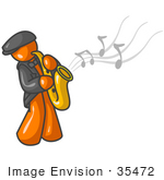 #35472 Clip Art Graphic Of An Orange Guy Character Musician Playing A Sax