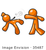 #35487 Clip Art Graphic Of An Orange Guy Character Knocking His Opponent Out