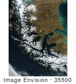 #35500 Geography Stock Photo Of The Strait Of Magellan Chile As Seen From Space