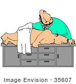 #35607 Clip Art Graphic Of A Man Lying On His Side During A Colonoscopy