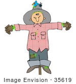 #35619 Clip Art Graphic Of A Scarecrow With A Bird Nesting In His Hat On A Post In A Crop
