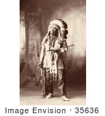 #35636 Stock Photo Of A Native American Named Chief American Horse Oglala Sioux Indian In Full Regalia And Feathered Headdress