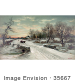 #35667 Stock Illustration Of A Couple Riding In A Horse Drawn Sleigh On Christmas Morning