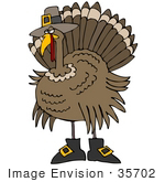 #35702 Clip Art Graphic Of A Thanksgiving Turkey Bird Disguised As A Pilgrim Wearing A Hat And Boots