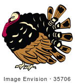 #35706 Clip Art Graphic Of A Fat Thanksgiving Turkey Bird With Brown And Black Feathers