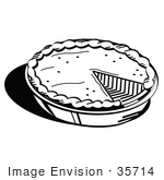 #35714 Clip Art Graphic Of A Black And White Pumpkin Or Apple Pie Missing A Slice