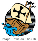 #35716 Clip Art Graphic Of The Pilgrim Mayflower Ship Sailing Through Blue Seas