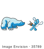 #35789 Clip Art Graphic Of A Sky Blue Guy Character Taming A Bear With A Whip